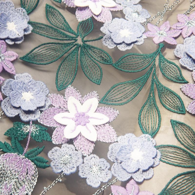 LASUI 1 quintal Nova Para o vestido feito sob medida decoração bordado Pesado azul violeta 3D flores preto suave tecido de malha de renda
