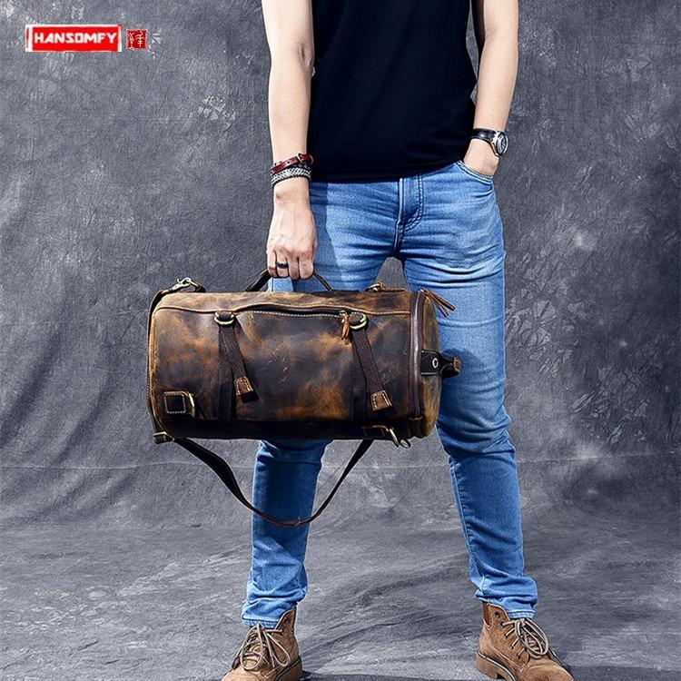 Multi-functional Men Handbag Genuine Leather Shoulder Crossbody Bag Male Small Travel Back Pack Bucket Bags Crazy Horse Leather