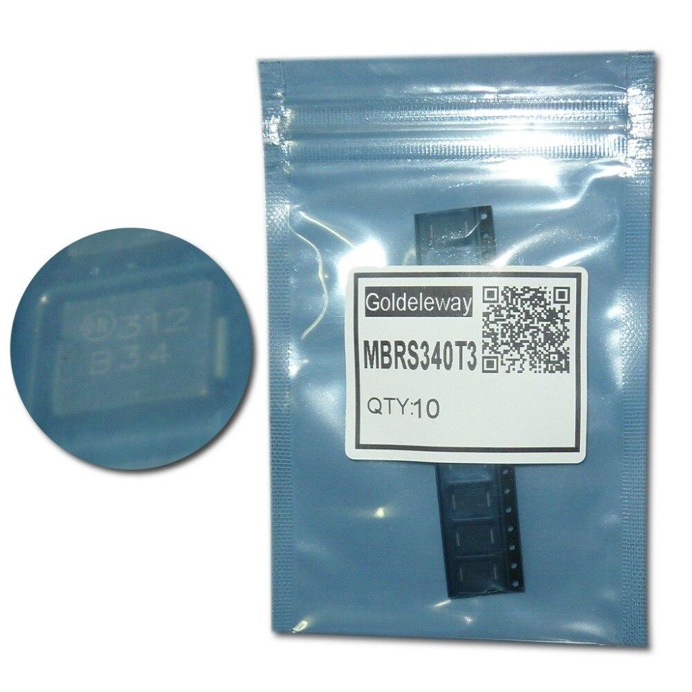 10pcs/lot MBRS340T3 Schottky Barrier Diodes 40V 3A 740mV/0.74V SMC/DO-214AB marking B34 power rectifier low forward voltage