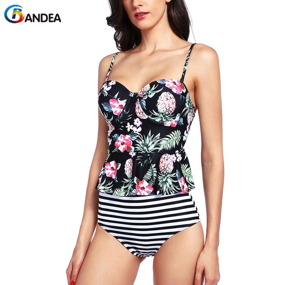 BANDEA-بيكيني مخطط ، ملابس سباحة مثيرة ، ملابس سباحة عالية الخصر بطبعة الأناناس ، ملابس سباحة HA577 ، مجموعة جديدة 2019