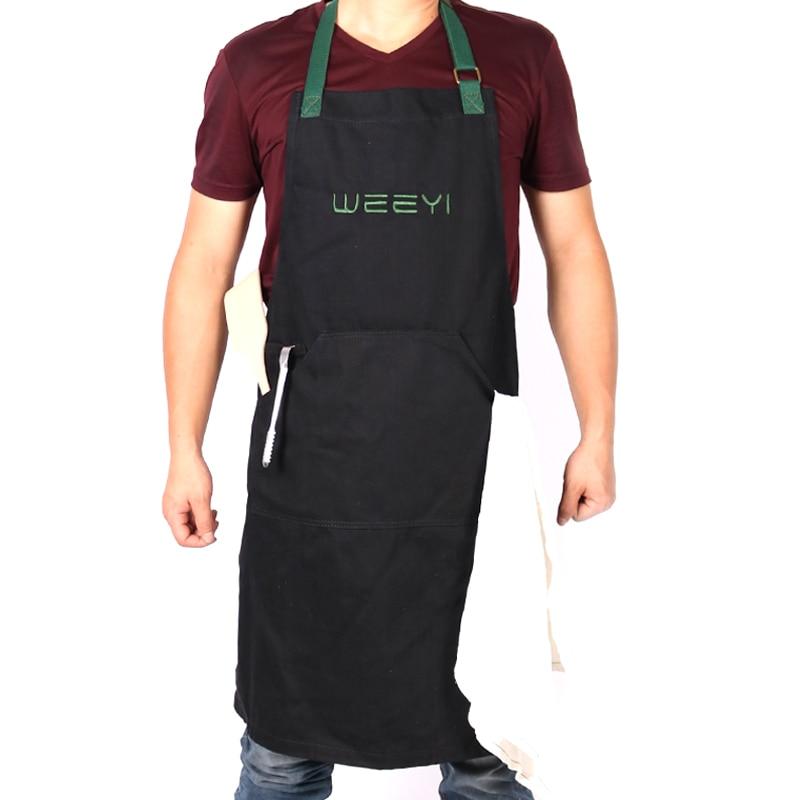 Delantal de mezclilla WEEYI hombres con corbata Extra larga lavable Hygge correa de algodón negro y azul para la cocina café Bistro Barista delantal S a XXL