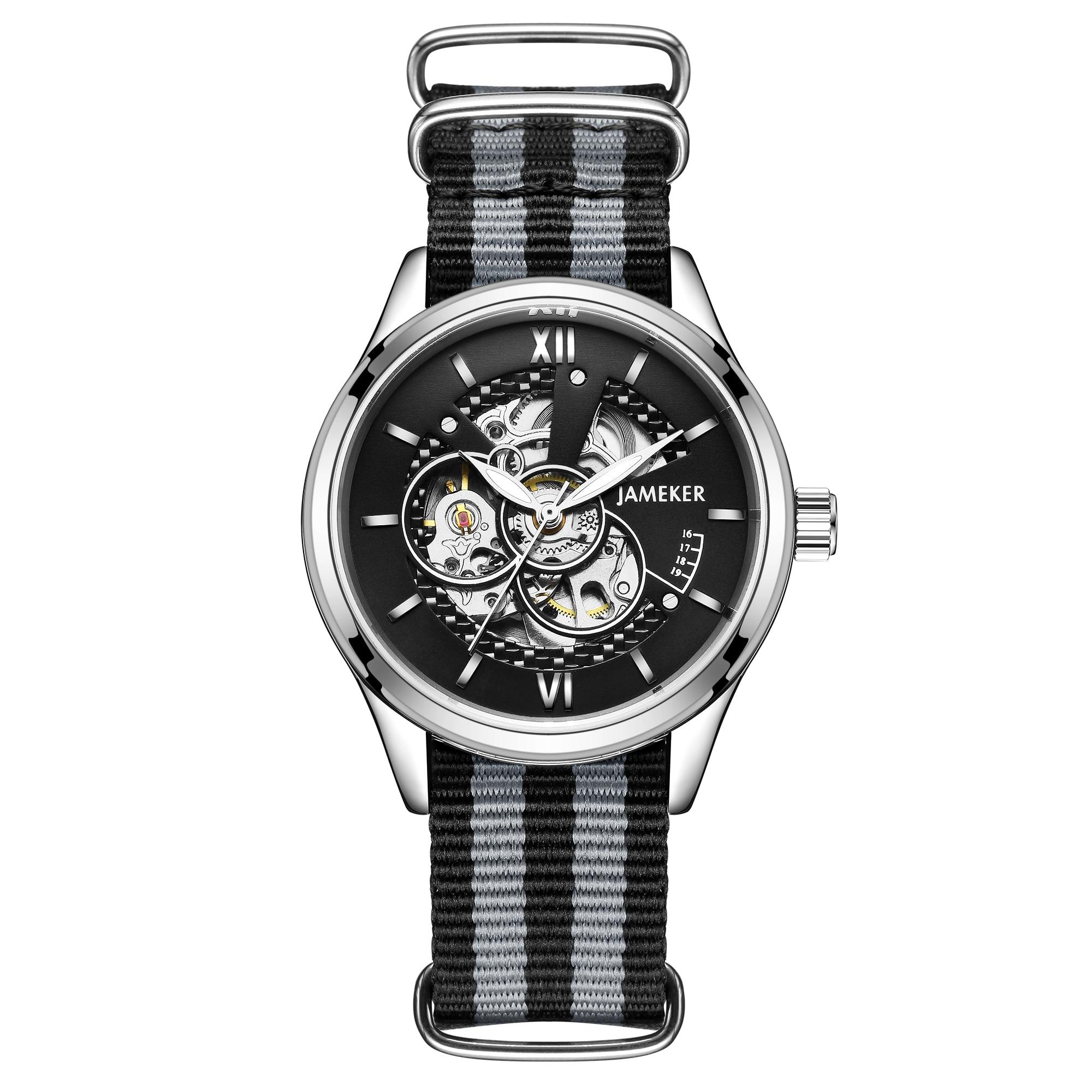 Reloj hombre 2019 zegarek damski correa de Nylon deporte automático reloj hombres reloj esqueleto relojes mecánicos hombre reloj caja de regalo