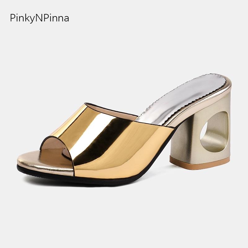 ¡Novedad de 2019! zapatillas de diseñador para mujer, tacones calados gruesos y altos, zapatos informales para mujer de talla grande 48 de Rome
