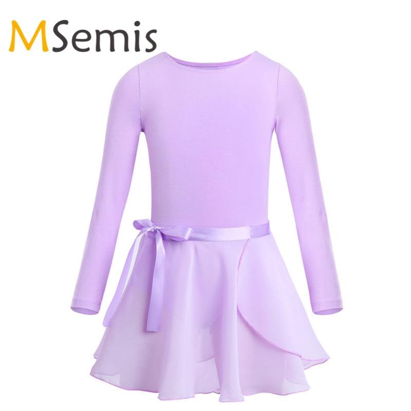 Балетное платье для девочек, гимнастический купальник для девочек, платье балерины, Детские хлопковые балетные гимнастические леотарды с длинными рукавами и юбкой