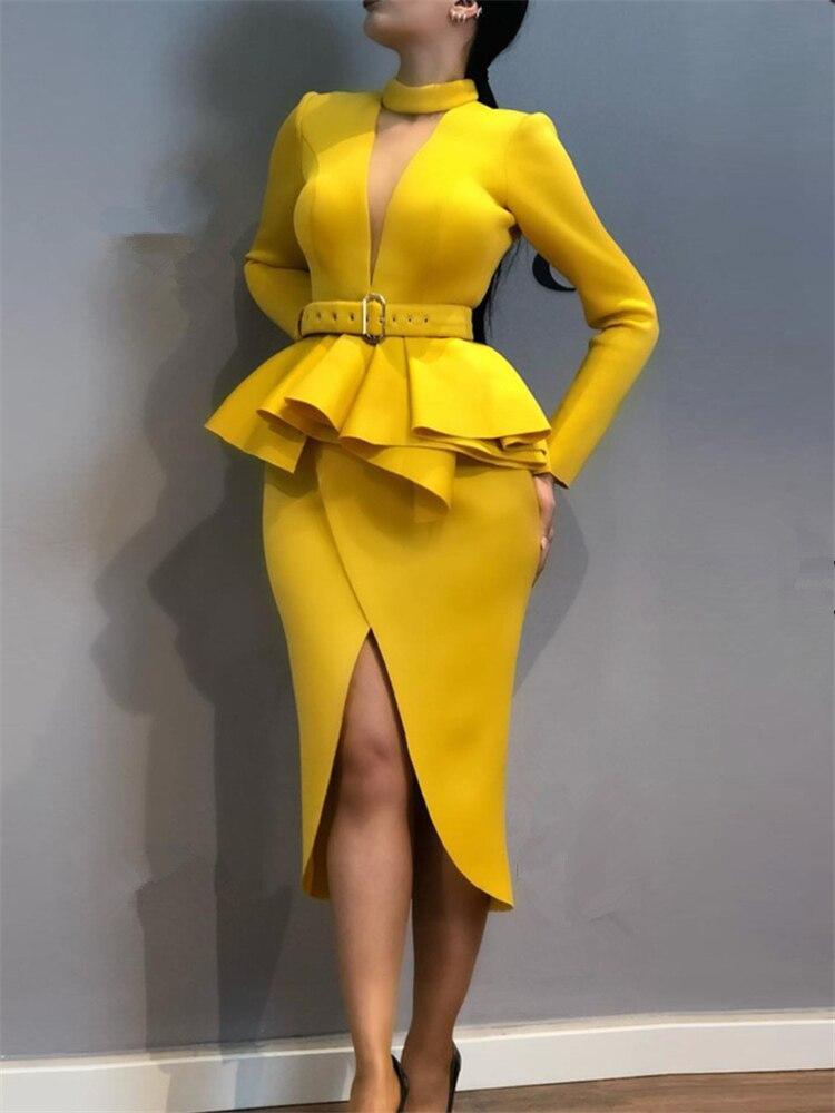 Women Slim Dress with Waist Belt Peplum Slit Long Sleeves Office Lady Fashion Wear Elegant Fake Two Pieces Sets Classy Clothes