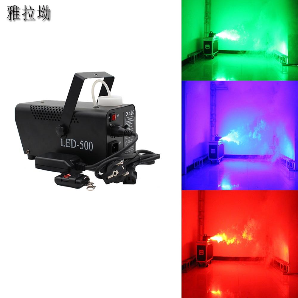 Máquina de niebla colorida, 500W, control remoto, discoteca, boda, proyector de escenario, máquina de humo DJ para el hogar