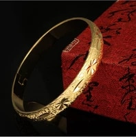 vintage bracelet yellow gold filled openable womens bangle dia 60mm