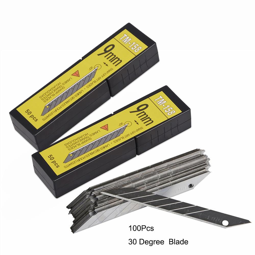 EHDIS 100pcs Carbon Steel Vinyl Spare Blades 30 Degree Sticker Foil Film Car Wrap Cutter Art Knife Blade Car Wrapping Cut Tools