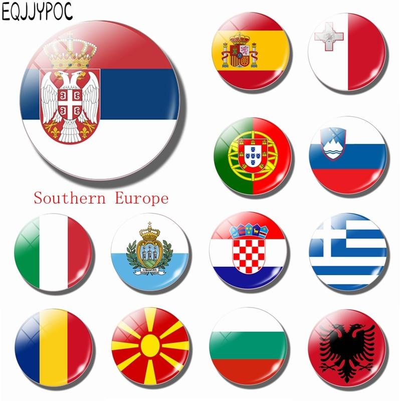 Сербия Национальный флаг стеклянный для холодильника магнит Ватикан Болгария Италия Испания Португалия Андорра Румыния Южной Европе сувенир Стикеры