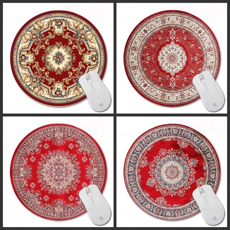 Congsipad 200*200*2mm impresión alfombra persa roja personalizada antideslizante goma 3D impresión Gaming duradero alfombrilla redonda para ratón