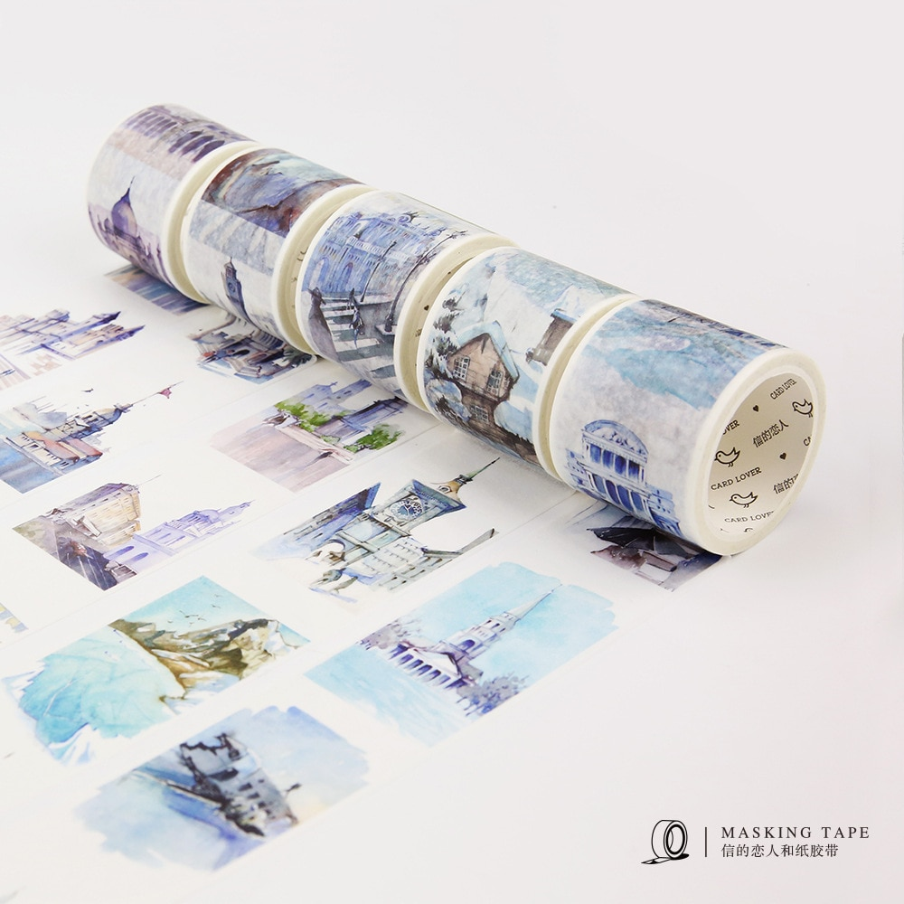 40mm The World Famous Building Decorative Washi Tape DIY Scrapbooking Masking Tape School Office Supply