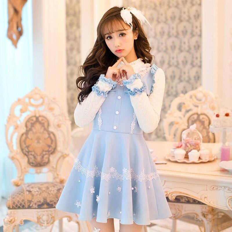 فستان أميرة لوليتا أبيض ، تصميم ياباني ، أكمام طويلة ، نحيف ، بفيونكة ، حلوى المطر ، C16CD6237