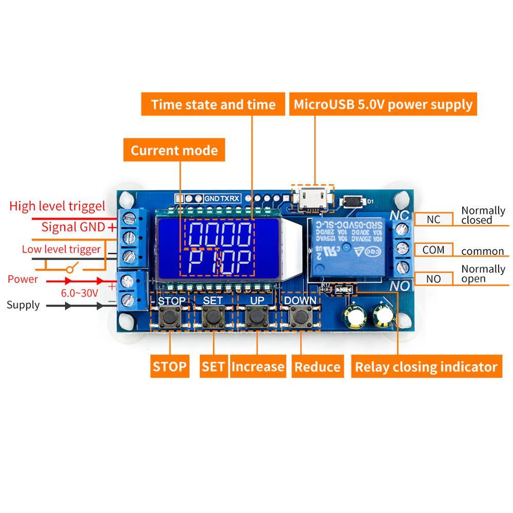 6-30 V Micro USB Digital Display LCD Módulo de Controle Módulo de Relé de Atraso de Tempo Interruptor Do Temporizador Ciclo Gatilho