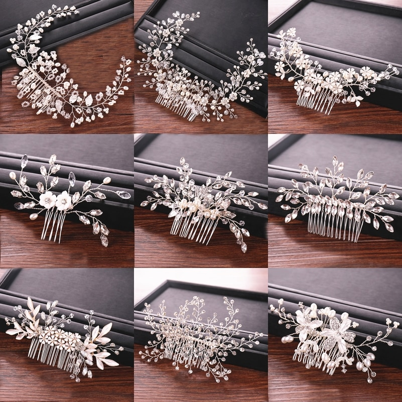 Peines para el pelo de perlas con diamantes de imitación para boda,...