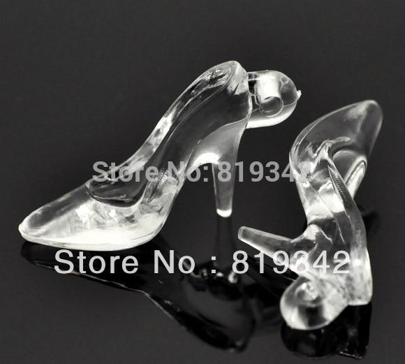 Envío Gratis, 60 uds., pendientes acrílicos transparentes de tacón alto para zapatos, 38x21x12mm, hallazgos al por mayor