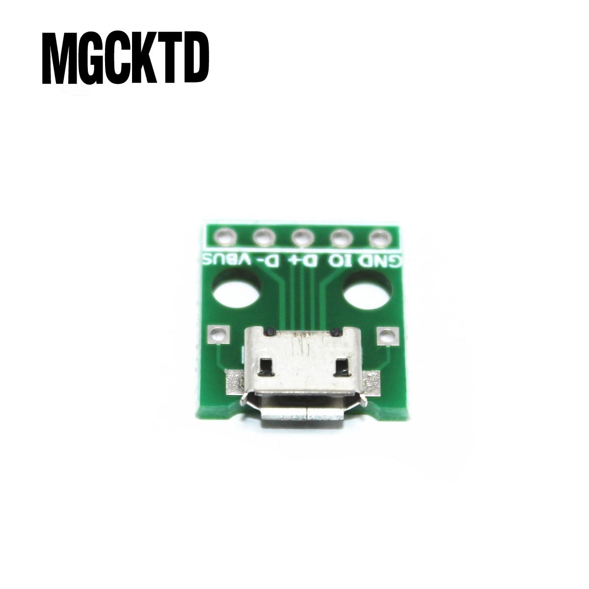 Q502 nuevo 50 piezas MICRO USB A DIP adaptador 5pin conector hembra tipo B pcb convertidor