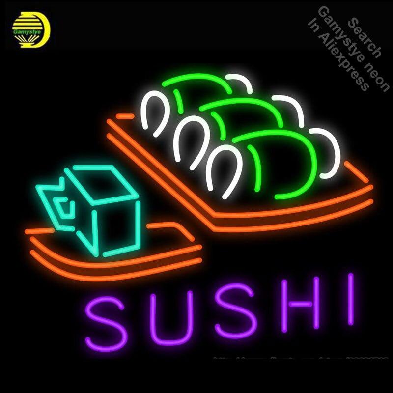 السوشي اليابانية الغذاء النيون تسجيل مخصص اليدوية النيون لمبة عرض الحرفية أننسيو لومينوسو مبدع تسجيل ضوء النيون تسجيل الزجاج