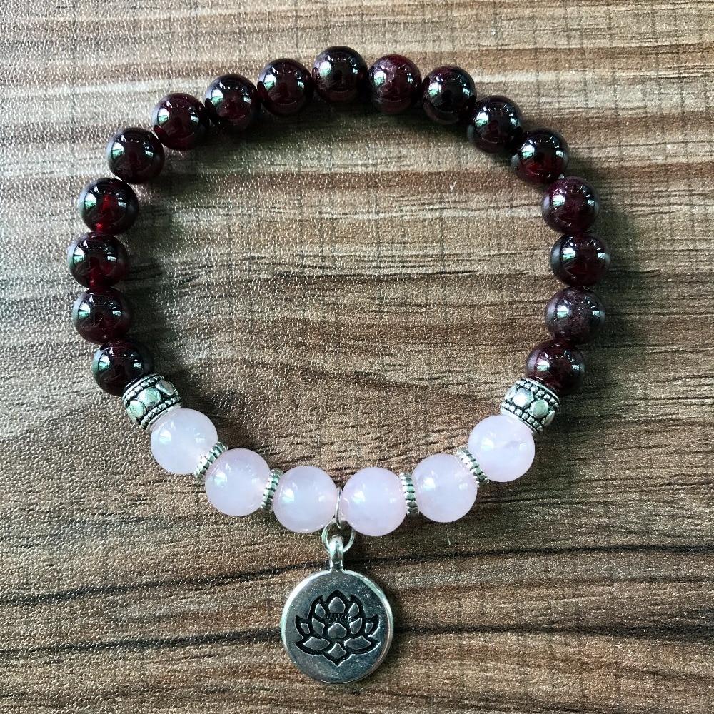 8mm High Quality Garnet &RoseQuartz Bracelet Lotus Yoga Bracelets OM Meditation Bracelets Buddha Energy Healing Mala Bracelet