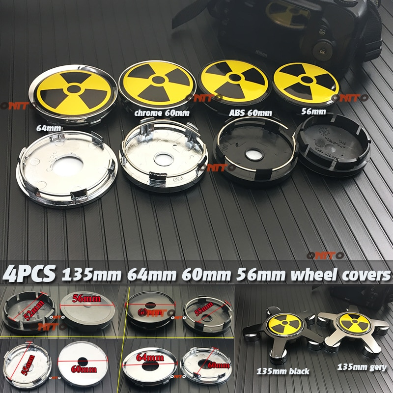 4 pces 56mm 64mm 135mm 60mm nuclear bomba radioativa arma sinal carro roda centro caps emblema capas para carros universais estilo