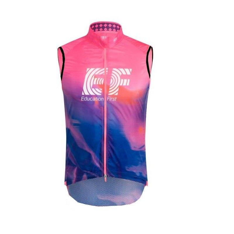 2019 pro team EF Chaleco de Ciclismo rosa a prueba de viento 3 bolsillos transpirable para hombre verano bicicleta de tela MTB Ropa Ciclismo maillot gilet