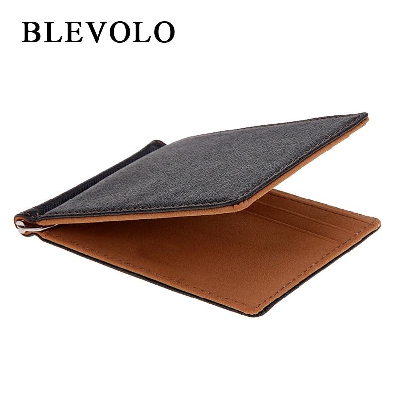 BLEVOLO Brand Men Wallet Short Skin Wallets Purses PU Leather Money Clips Sollid Thin Wallet For Men