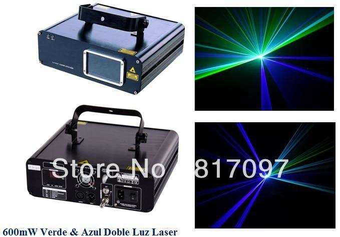 Venta 600 mW Luz Laser Azul Doble Rayo 500 mW 450nm 100 mW 532nm DPSS Laser Verde Diodo Laser Show DJ Luces Escenario frete grátis