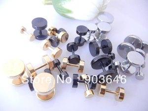 100pcs Free Shippment Body  Jewelry-  Fake Ear Plug Ear Studs Illusion Plugs 6mm 8mm 10mm