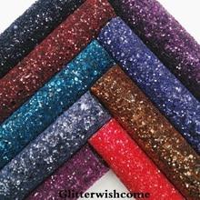 Синтетическая кожа Glitterwishcome 21 х29 см, Размер A4, крупная кожа с блестками темных цветов, виниловая ткань для бантов, GM040A