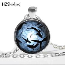 HZ--A250 2017 nowe szkło zdjęcie Cabochon krąży rekiny biżuteria Ocean wisiorek męska Shark naszyjnik naszyjnik szklana kopuła HZ1