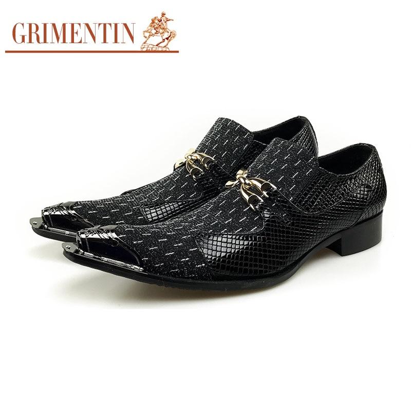 Grimentin/итальянские Мужские модельные туфли; Черные слипоны; Высококачественная кожаная официальная обувь для вечеринок; оксфорды; деловые туфли