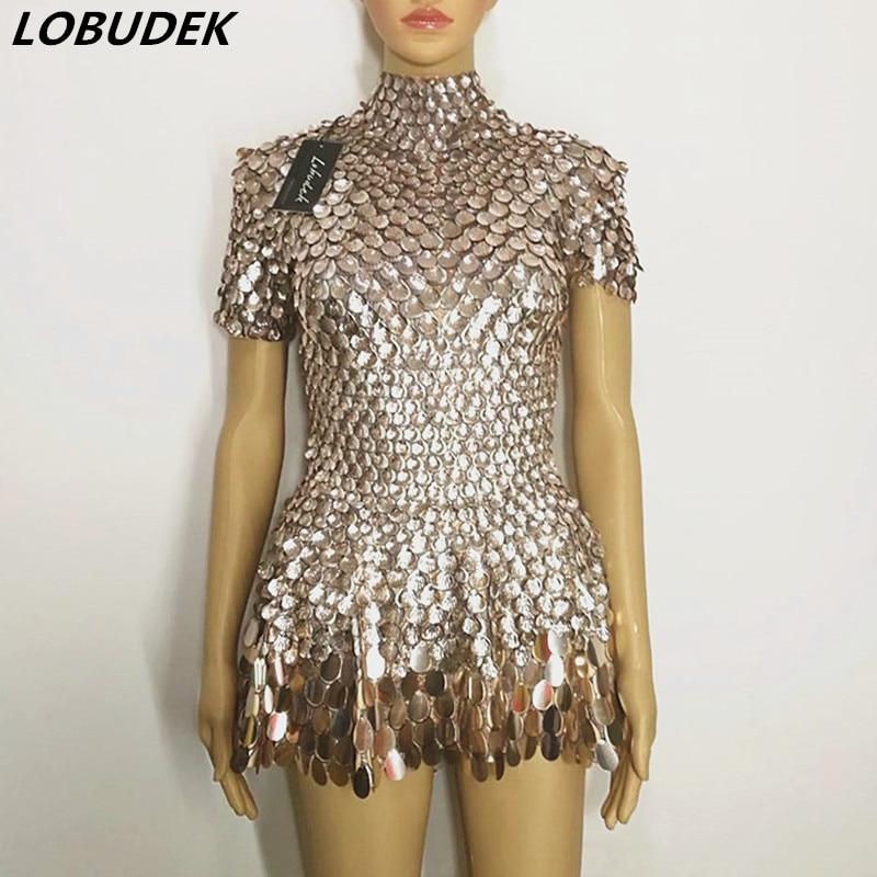 Shining Shells lentejuelas Vestido corto espejos de escala de pescado Mini vestido señora Bar discoteca DJ cantante DS puesta en escena traje de baile
