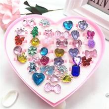 36pcs Mini Cartoon Candy Flower Kindergarten Little Girl Plastic Ring Set Pretend Play Beauty Fashion Toys Birthday Party Gifts