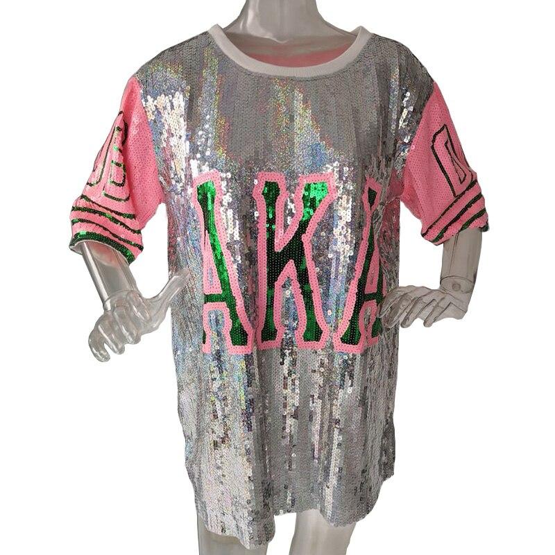 New Hip Hop Bling T-shirt AKA Half Sleeve T-shirt Dress Women Street Sequins T Shirt For Stage Dance Club Party