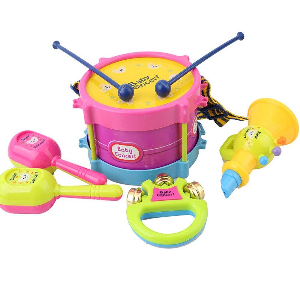 5 stücke Pädagogisches Baby Kinder Drum Musical Instruments Band Kit Kinder Spielzeug Baby Kinder Geschenk Set