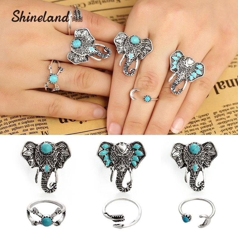 6 pièces/ensemble bohême Vintage Punk éléphant anneaux pour femmes hommes plage sculpture tibétain vintage knuckle Joint anneau ensembles bijoux