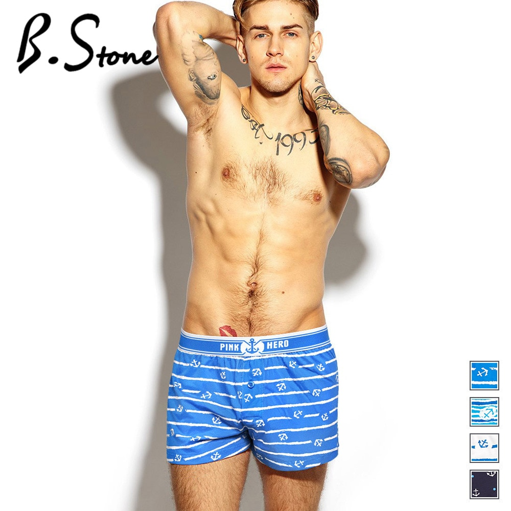 Pink Heroes Men Boxers Underwear Brand New Pure European Style Cotton Boxer Flat Pants Home Arrow Printing