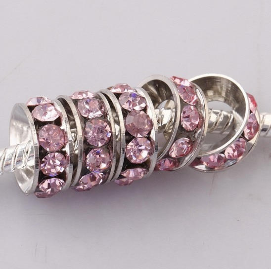 Envío Gratis, venta al por mayor, 18kgp, 10 MM, Rosa CZ, cristal, rueda, encanto, separador de agujeros grandes, cuentas sueltas