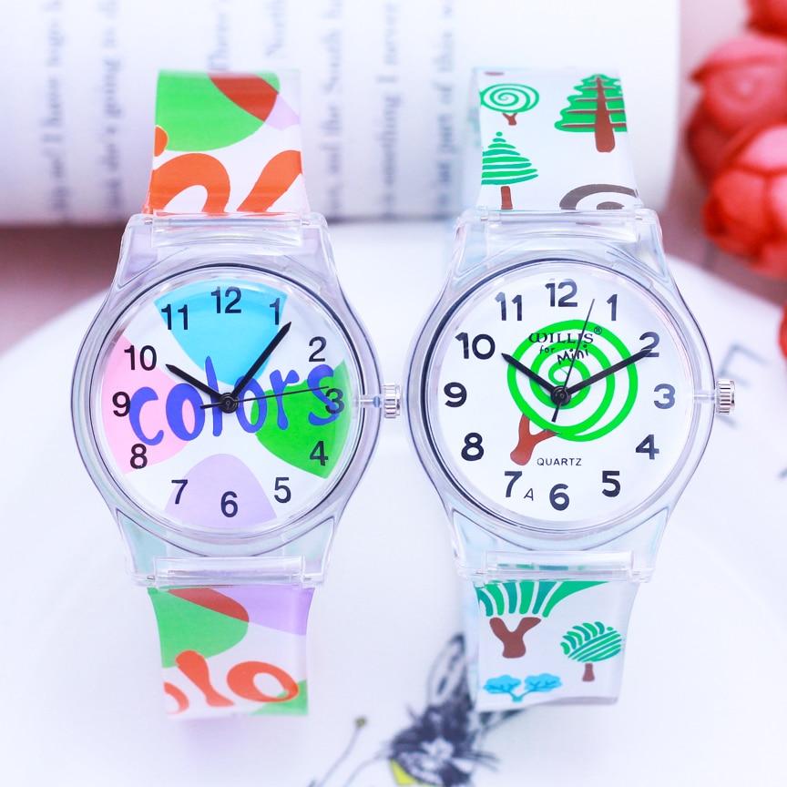 2018 new famous brand transparent women children girls cartoon colorful quartz wristwatch resin face students waterproof cloc