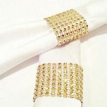 Couvre-plaques en maille diamant strass or 8 rangées   10 pièces/paquet, anneaux de serviettes de Table, bricolage décorations artisanales de Table