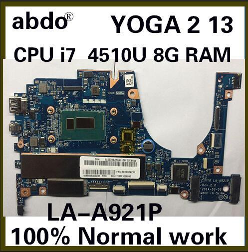 Abdo ZIVY0 LA-A921P материнская плата для Lenovo YOGA 2 13 YOGA2 13 материнская плата для ноутбука CPU i7 4510U 8G RAM 100% тестовая работа