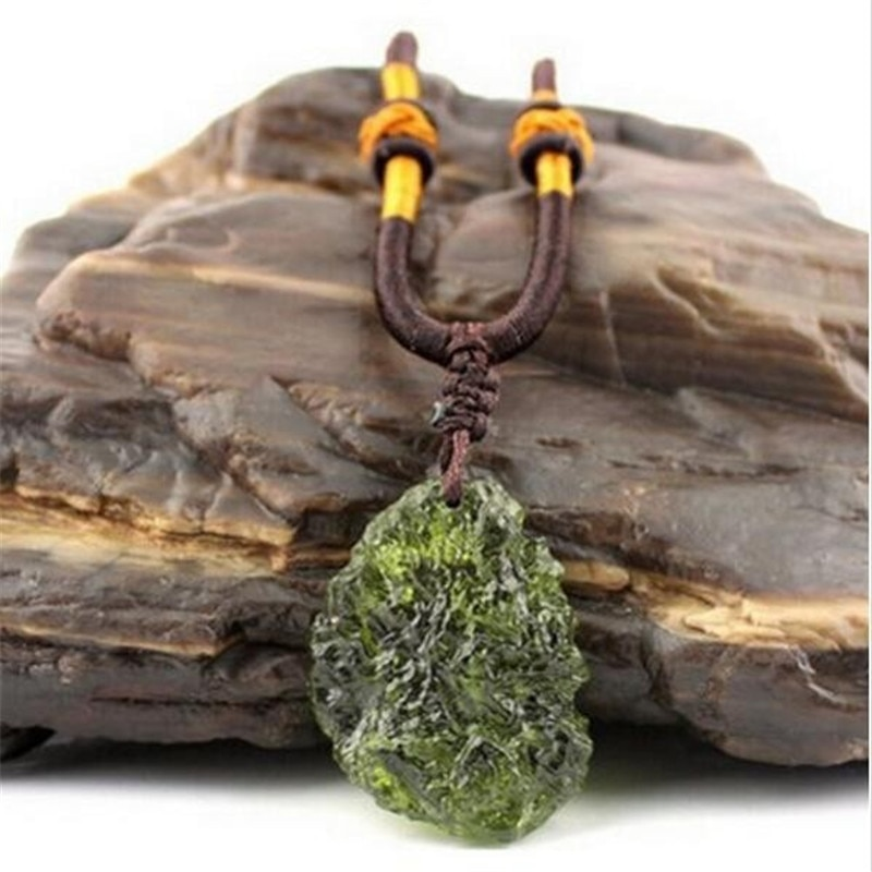 Natural Moldavite green aerolites crystal stone pendant energy apotropaic free rope Necklace Health From Czech Healing Reiki