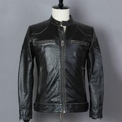 2019 Do Vintage Da Moda Cowskin Preto Motorcycle Jacket Slim Fit Homens David Beckham Estilo Casacos De Couro Jaqueta De Couro Genuíno Masculino