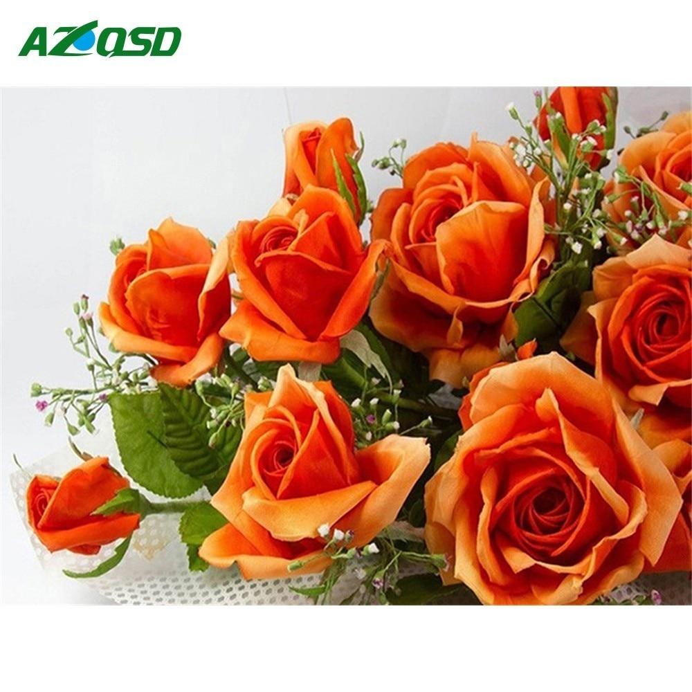 AZQSD Diamant Malerei Blumen Diamant Stickerei Rosen Wohnzimmer Decor Diamant Mosaik Volle Platz Hand Handwerk