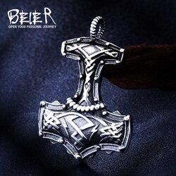 Beier punk 316l aço inoxidável norse vikings pingente colar nórdico viking totem original amuleto jóias para o presente do homem BP8-378