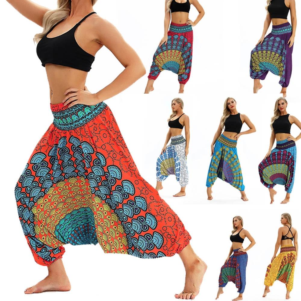 2019 Casual mujeres hombres Pantalones mujer cintura alta pierna ancha tailandesa Harem pantalones Hippy holgado Boho Aladdin Jumpsuit Ladies Pantalones