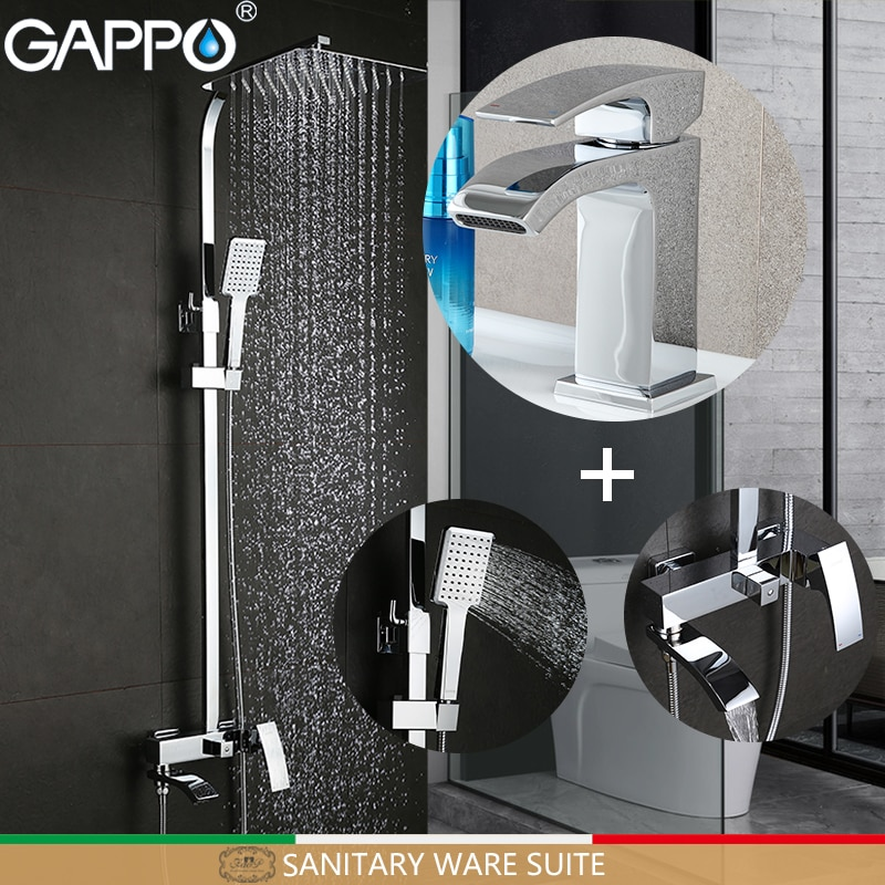 GAPPO bath tub taps bathroom shower set basin faucets basin sink tap shower system Sanitary Ware Suite