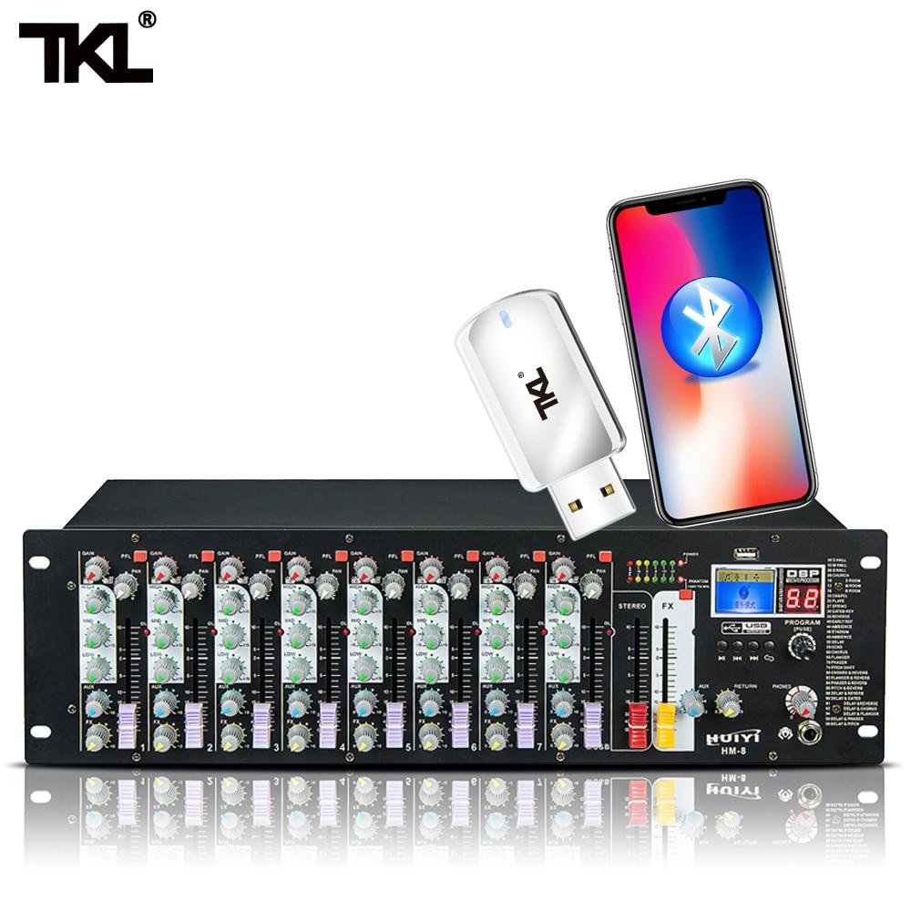 TKL HM-8 8-قناة الصوت مع USB DJ الصوت خلط وحدة بلوتوث 48V الطاقة التبديل خلاط ل الكاريوكي KTV مارث حزب