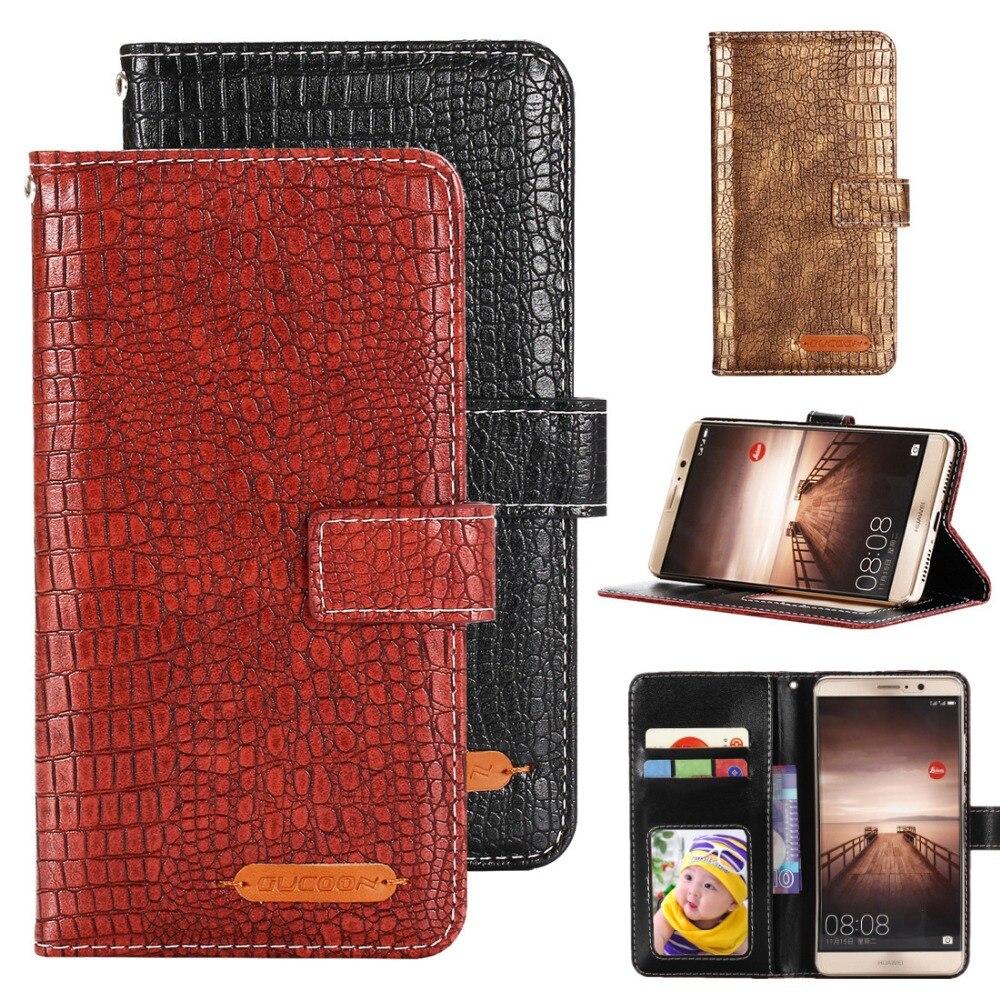 GUCOON, Cartera de cocodrilo a la moda para Intex Aqua Lions T1 plus, funda de teléfono de cuero PU de lujo, bolso de mano de alta calidad
