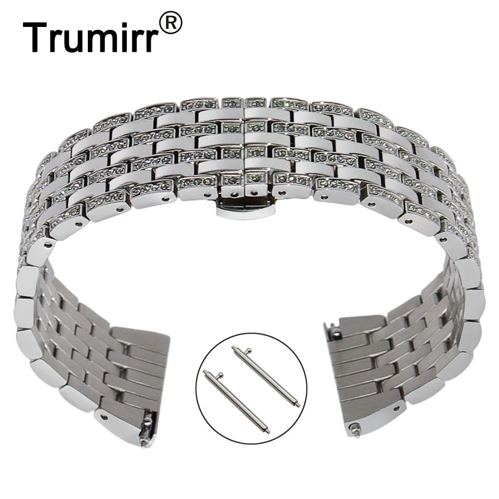 Correa de reloj de diamantes de cristal de liberación rápida para el reloj de pulsera de acero del oriente de charderique Constant Jacques