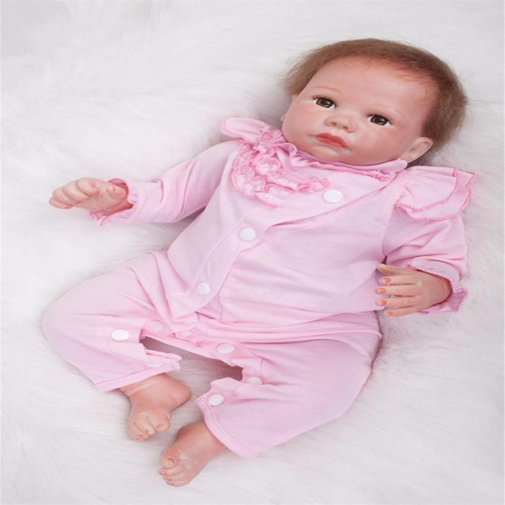 SanyDoll 19 pulgadas 49 cm silicona bebé reborn muñecas, muñeca realista reborn hermoso vestido rosa muñeca Festival regalo